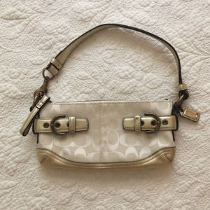 Coach Signature Canvas White Gold Leather Bag